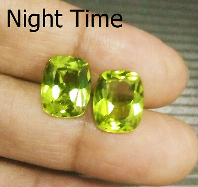 RARE! 10x8 mm. 2pcs. Cushion Yellow Green Sapphire Color Change (Earrings Set)