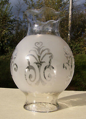 Antique Etched Rowatt's No12 Anucapnic Glass Oil Lamp Shade/Globe - Chimney-less