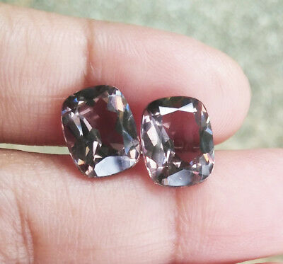 Pair 2pcs. 7.10cts. 10x8 mm. Cushion Smoky Brown Color Change to Green Sapphire