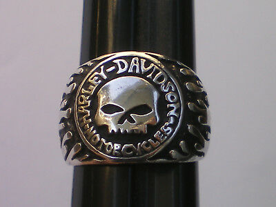 VTG Harley Davidson WILLIE G SKULL RING Sterling Silver MOD JEWELRY Size 6 RARE