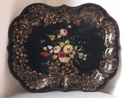 """20"""" x 16"""" Antique Victorian Black Handpainted & Abalone Floral Tin Toleware Tray"""
