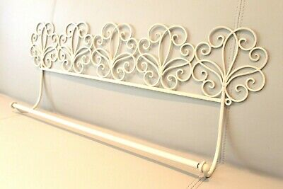 Cream Metal Towel Holder Hanging Towel Rail French Vintage Style - Sale!