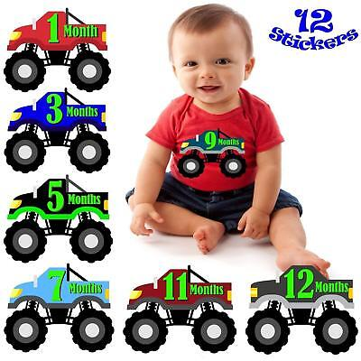 Baby Gift Months Monster Truck Boy Monthly Stickers Milestone Month 1-12 NEW
