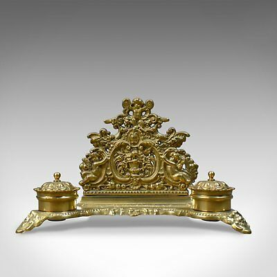 Antique Desk Stand, English, Edwardian, Gilt Metal Letter Rack, Inkwells c.1910