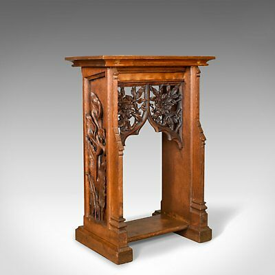 Antique Lectern, Carved, English, Oak, Stand, Ecclesiastical Gothic, Pugin c1880