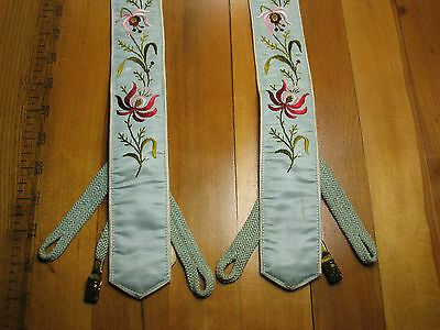 ANTIQUE * Early *  SUSPENDERS * BRACES  SILK EMBROIDERED   * Pioneer *