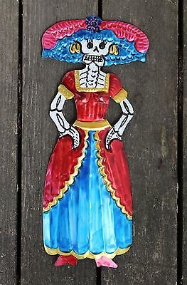Mexican Catrina, Day of the Dead Dias de los Muertos Tin Folk Art Shabby Chic