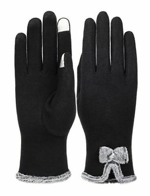 Womens eTip Touch Screen Gloves Black Windproof Super Warm Ladies Winter Gloves