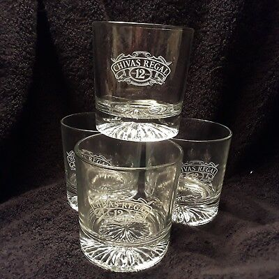 "Chivas Regal 12 Lowball / ""On The Rocks"" Whiskey Glasses 3.75"" Tall ● Set of 4 ●"
