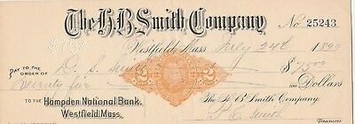 1899 The H.b. Smith Co, Westfield  Massachusetts  W/revenue Stamp