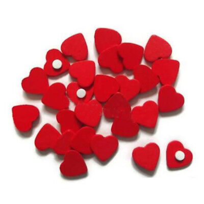 Self-Adhesive Stickers Wooden Craft Embellishments Valentines Red Love Hearts