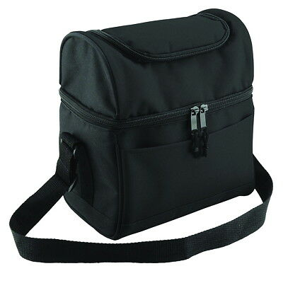 Deluxe Insulated Lunch Cooler Bag & Dual Section, Zipper Adjustable Strap, Black