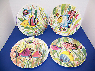 """St. Martin Tropical Fish 4 Dinner Plates (10.25"""") Email de Limoges S. Marino NWT"""