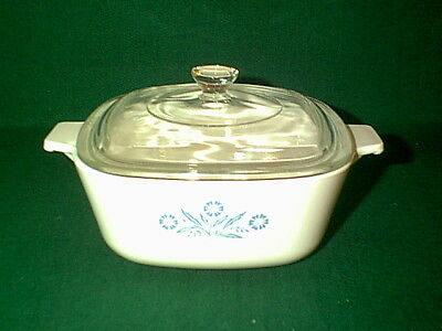 Vintage Corning Ware Blue Cornflower 1 1/2 Qt Casserole Dish With Lid P-1 1/2-B