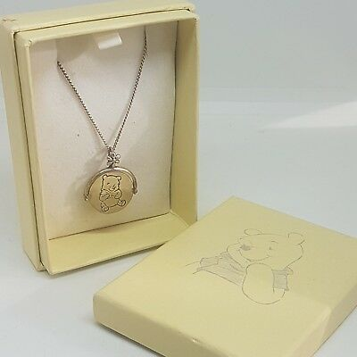 VTG Winnie The Pooh Sterling Silver Necklace DISNEY Charm Christening Boxed