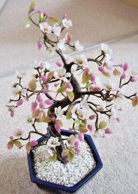 Collectable Chinese BONSAI lovely glass flower tree figure- ornament