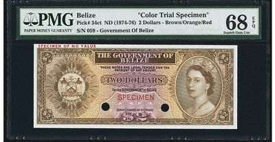 BELIZE  2 DOLLAR  COLOR TRIAL SPECIMEN 1974 PMG 68 SUPERB GEM UNC EPQ PICK 34ct