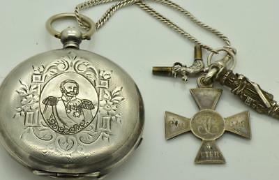 WOW! Imperial Russian officer's award silver watch&fob by Les Fils de R.Picard