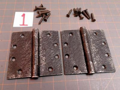 Pair Acorn Warwick Style Butt Hinges Faux Hammered Iron Finish w Screws No 1 VTG