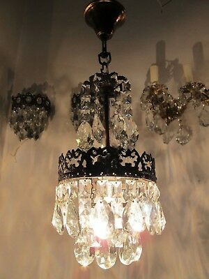 Antique Vintage Mini Swarovski Crystal Chandelier lamp 1940s 6 in dmtr