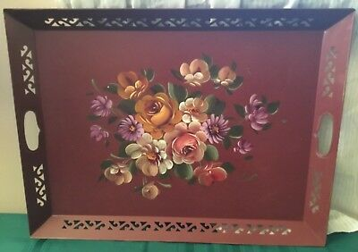 Vintage Hand Painted Floral Maroon Metal Toleware Serving Tray