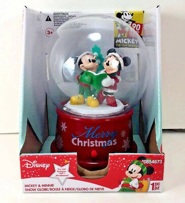 NEW Musical Plastic Snow Globe Disney CAROLING MICKEY & MINNIE MOUSE 90-YEARS