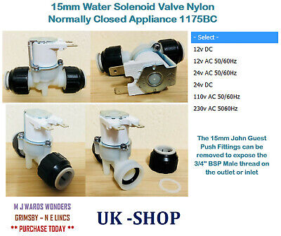 15mm Water Solenoid Valve Nylon Normally Closed Appliance 1175BC