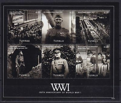 Tuvalu Mi-Nr. 1976 - 1981 KB / Sheet **, 1. Weltkrieg / World War I (14 ME)