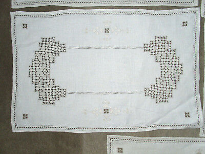 "7 Perfect Vintage Natural Linen Table Mats Drawn Thread Embroidery 16.5"" x 10.5"""