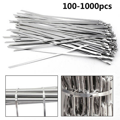 "100-1000Pcs 12"" 16"" 18"" Stainless Steel Metal Cable Zip Tie Self Locking Strap"