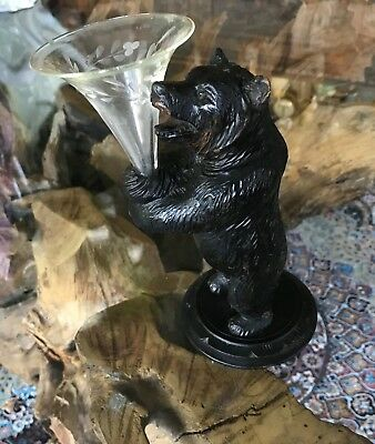 Beautiful Antique Vintage Hand Carving of a Black Forest Swiss Bear Epergne