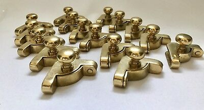 Solid Brass Stairway Carpet Brackets With Finials Polished Brass 8 Pair