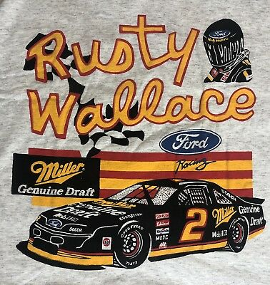 vintage 90s nascar rusty wallace miller genuine draft ford t shirt