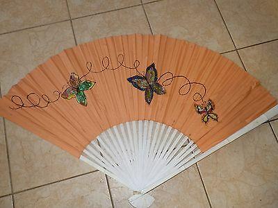 "Vintage Chinese Hand Painted Butterflies Cloth Fan Bamboo ORIENTAL 61"" x 38"""