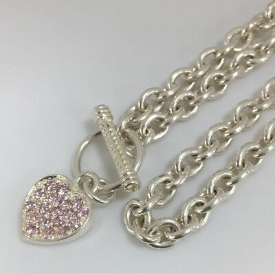 "Sterling Silver 925 Pink Stone Heart Tag Toggle Necklace 17.5"" #S456"