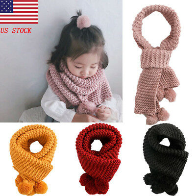 US Autumn Winter Kid Girls Neck Warmer Knitted Scarf with Little Ball of Fur