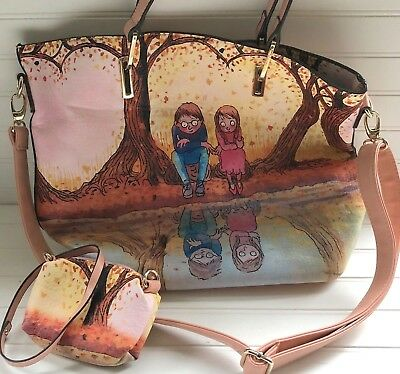 Jimmy Liao Chinese Illustrator Rare Crossbody Picture Pink Handbag & Coin Purse