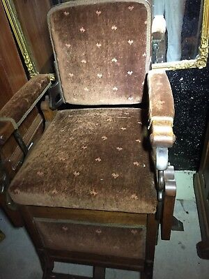Antique Koken Barber Shop Chair,mohair,oak Wood,iron,shave Haircut-Pick Up Only