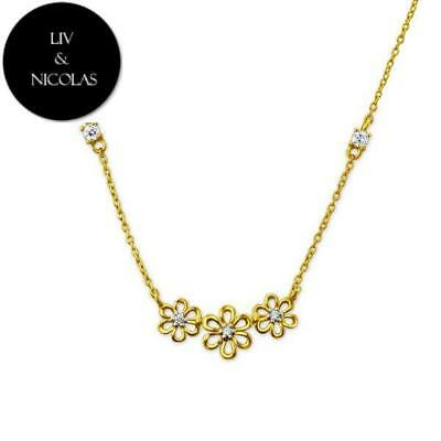 Solid 925 Sterling Silver + 14K Gold Plated White Cubic Zirconia Three Flower Ne