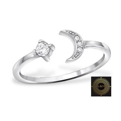 Solid 925 Sterling Silver Cubic Zirconia Open Adjustable Rings