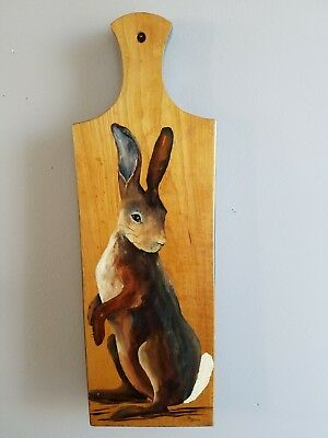 BUNNY RABBIT PICTURE PAINTED ON A KITCHEN WOOD PADDLE CUTTING BOARD SIGNED 6x18