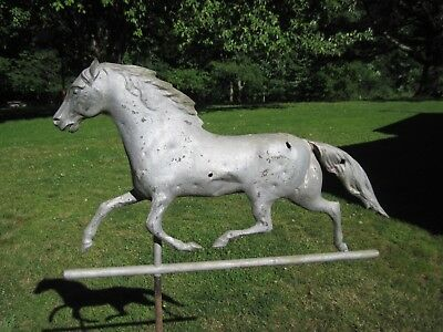 Copper Running Horse Weathervane With Bullet Holes & Zinc Solid Head / Antique