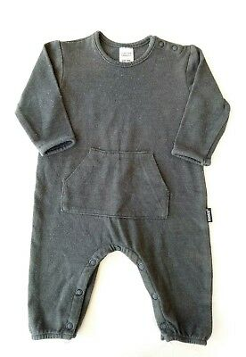Bonds Boys One Piece Size 000 Grey Long Sleeve Footless Front Pocket