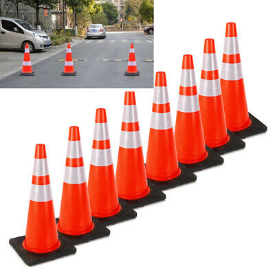 28'' Inch Safety Traffic Cones Fluorescent Orange Reflective Collar 8Pcs/Set UPS