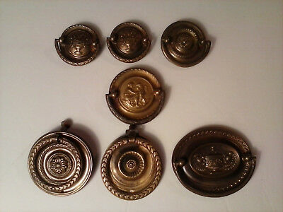 Mixed lot of seven vintage drawer pulls w. back plates - Marked KBC, F808, K216