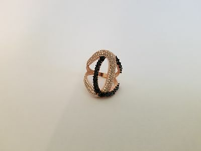 White, Black Zirconia Handcrafted  Ring