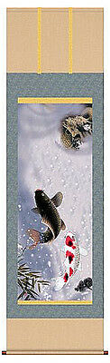 japanese hanging scroll  Title :two carp rises to the dragon.