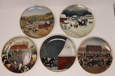 Five Lowell Herrero Franklin Mint American Folk Art Cow Collection Plates Set