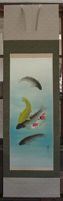 japanese hanging scroll   Five of carp