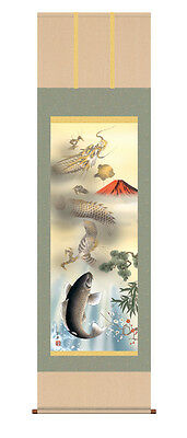 japanese hanging scroll  Dragon, carp  and red Mt. Fuji   Painter:hoen isida